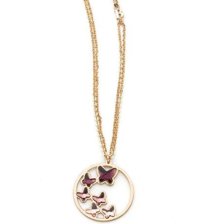 Boccadamo Jewels - Swarovski kristályos bronz nyakék - Lila pillangók - bordó