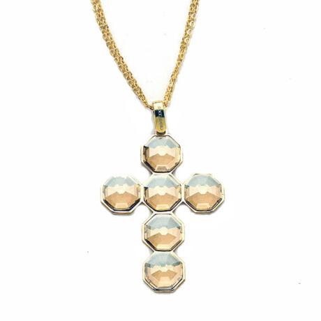 Boccadamo Jewels - aranyozott bronz nyakék - Cross - borostyán