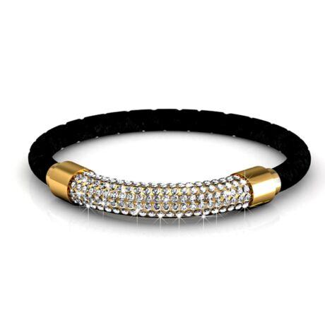 Sunburst -  Swarovski kristályos karkötő - fekete, arany - fehér