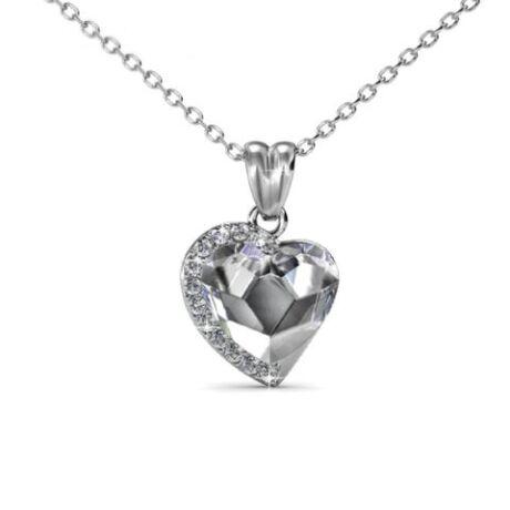 Angelina - Swarovski kristályos szív alakú nyaklánc - díszdobozban - fehér
