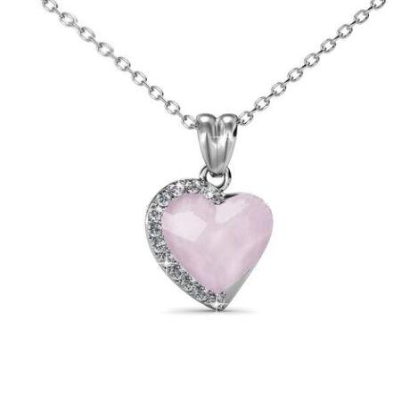 Albina - Swarovski kristályos szív alakú nyaklánc díszdobozban - opálrózsaszín