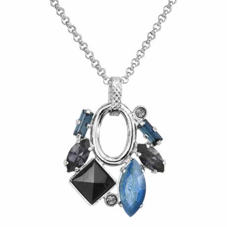 JAPAN - Kézzel készített Swarovski kristályos nyaklánc - Montana, Graphite, Black Diamond - kék