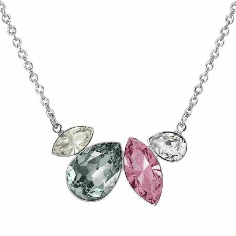 Dream - Kézzel készített Swarovski kristályos nyaklánc -  Light Rose, Black diamond, Silver shade
