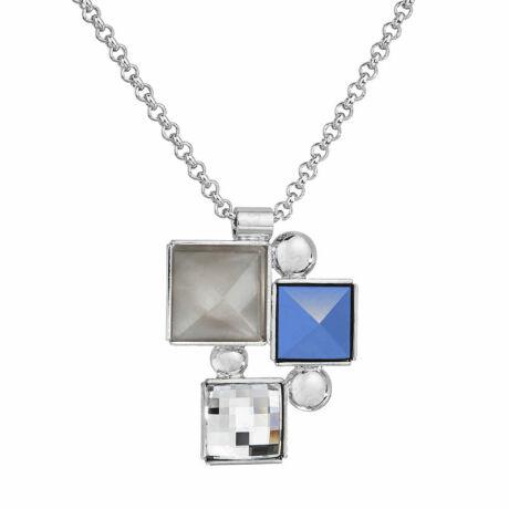 MOZAIK - Kézzel készített Swarovski kristályos nyaklánc - Blue alabaster, Moonlight grey - kék
