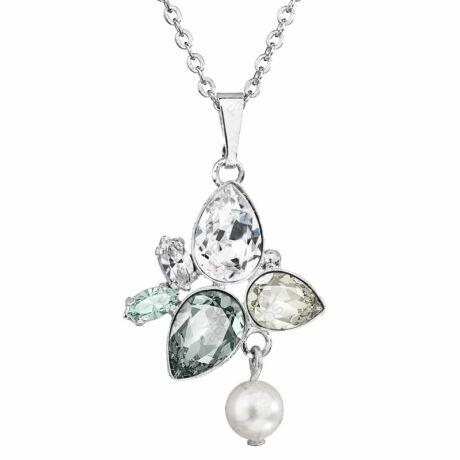 Boni - Kézzel készített Swarovski kristályos nyaklánc -  Crystal, Silver Shade, Black diamond
