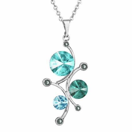 Vinding - Kézzel készített Swarovski kristályos nyaklánc - Light Turquoise , Blu Zircon, CRYSTAL