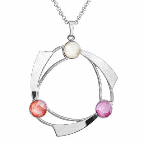 Circle Shine - Kézzel készített Swarovski kristályos nyaklánc - Light Coral, Ivory Cream, Peony Pink