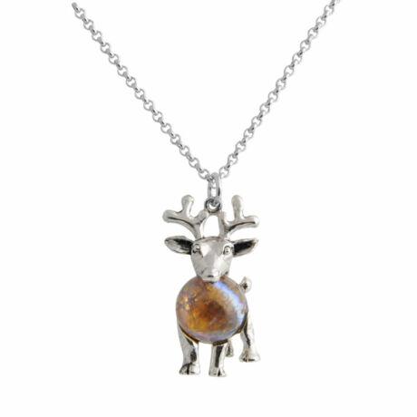 DEER - Kézzel készített opálköves nyaklánc - Brown opal - fehér