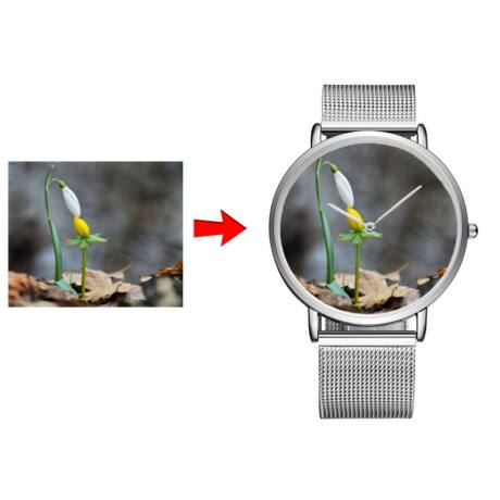 Fotó-karóra készítés egyedi képpel - választható szöveg gravírozással - órajelölés nélkül - ezüst színben