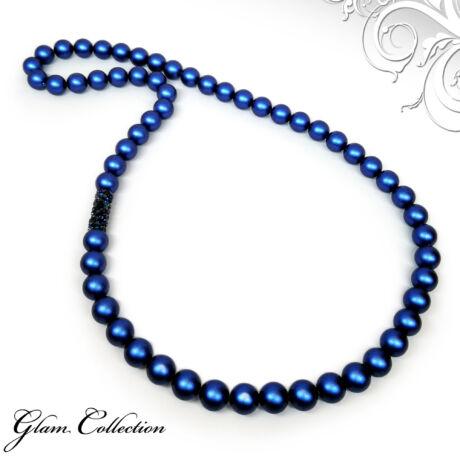 Swarovski gyöngy nyaklánc - Crystal Tube Bermuda Blue dísszel - kék
