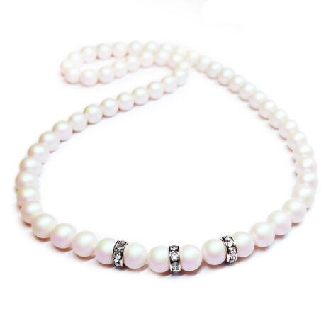 Swarovski gyöngy nyaklánc -Pearlescent White - fehér