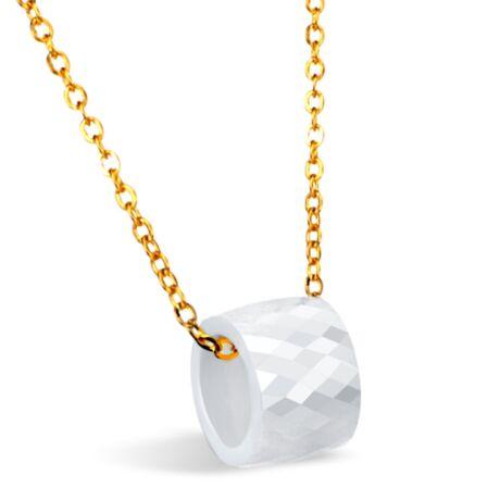 Kerámiagyűrűs nyaklánc - fehér