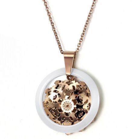 Kerámiavirág - nyaklánc, arany