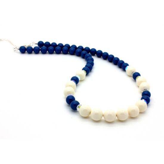 Swarovski gyöngy és kristály nyaklánc -Lapis, Ivory