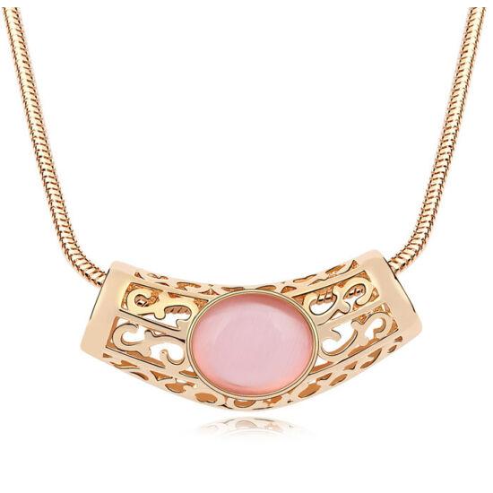 Gaia - rózsaszín opál- Swarovski kristályos nyaklánc