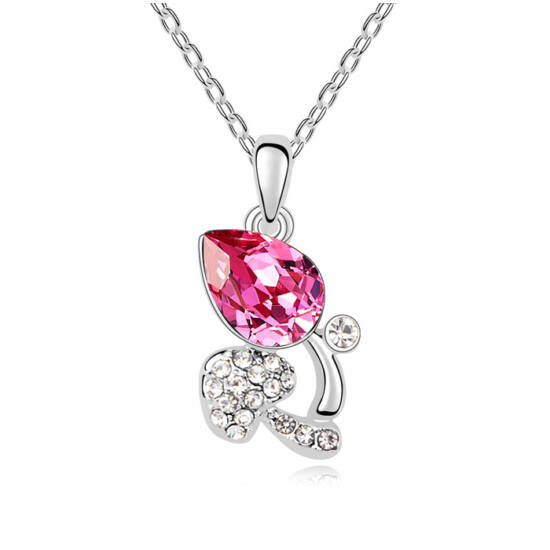 Bimbóm- rózsaszín- Swarovski kristályos nyaklánc