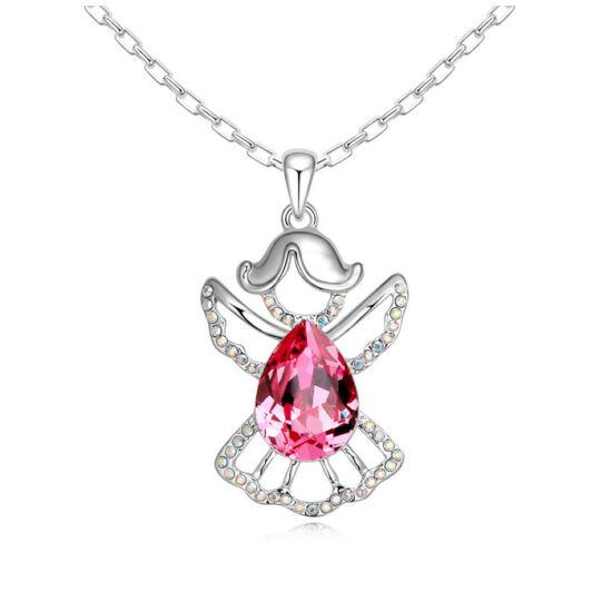 Angyal- rózsaszín- Swarovski kristályos nyaklánc