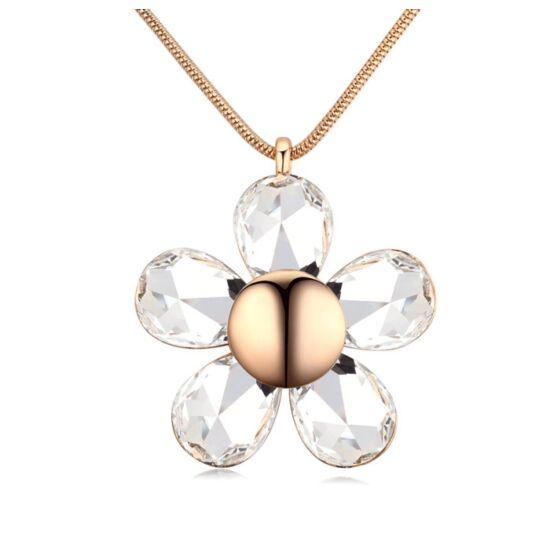 Óriásvirág-fehér- Swarovski kristályos - Nyaklánc