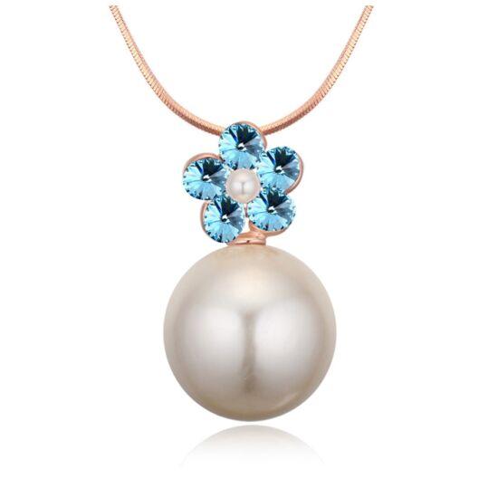 Virág és gyöngy-kék- Swarovski kristályos - nyaklánc
