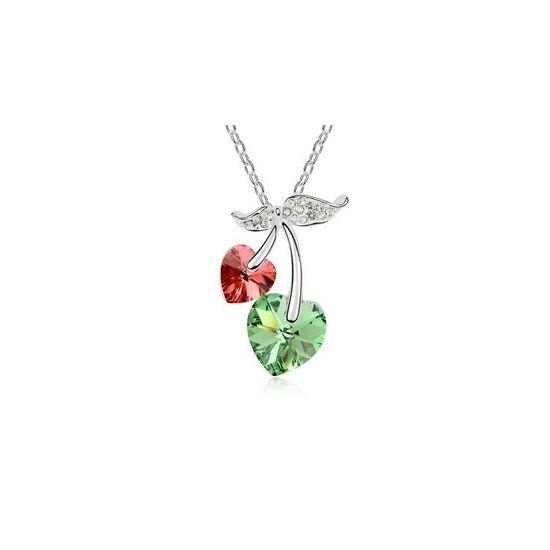 Cseresznye szívek- zöld-piros- Swarovski kristályos nyaklánc