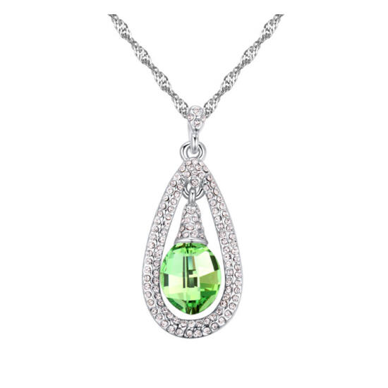 Kristály harang - zöld-  Swarovski kristályos - Nyaklánc