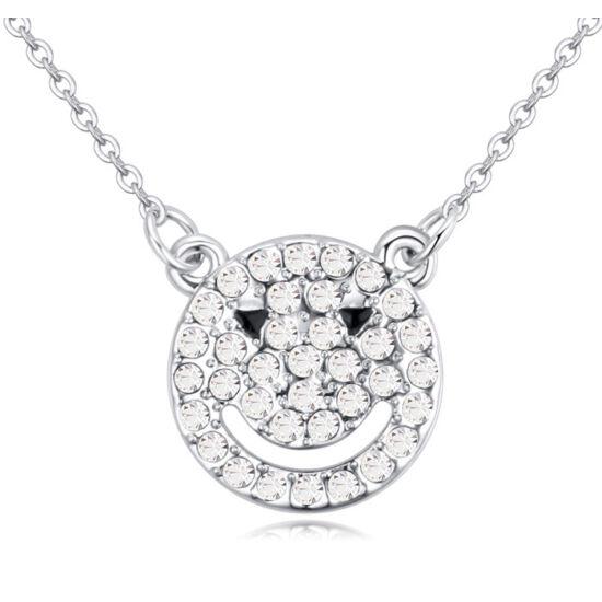 Smiling bear- Swarovski kristályos nyaklánc- fehér
