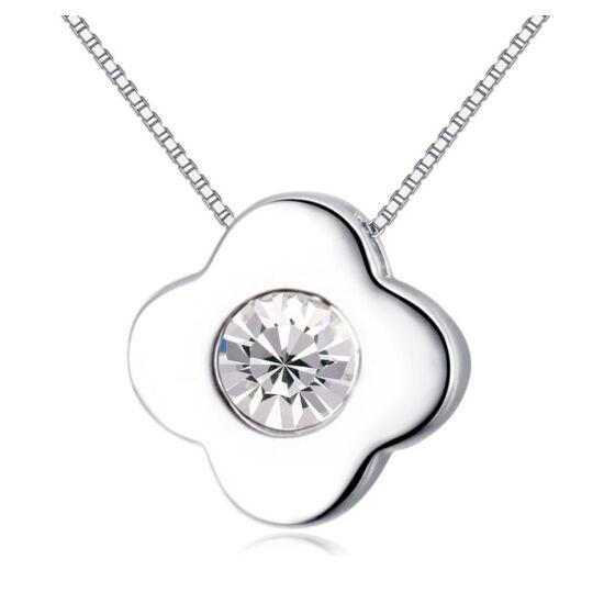 Little flower  - fehér- Swarovski kristályos nyaklánc