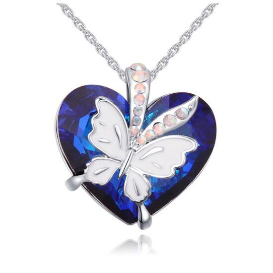 Butterfly heart- kék- Swarovski kristályos nyaklánc