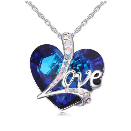 Love heart- kék- Swarovski kristályos nyaklánc