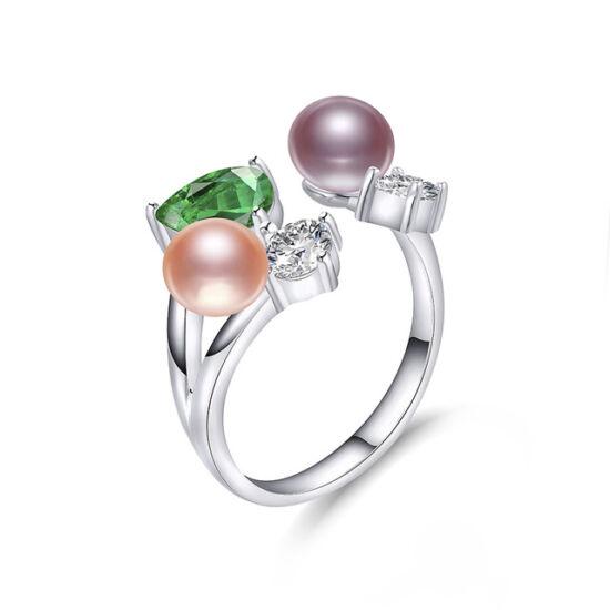 Hedda - valódi gyöngyből készült gyűrű - rózsaszín, barack