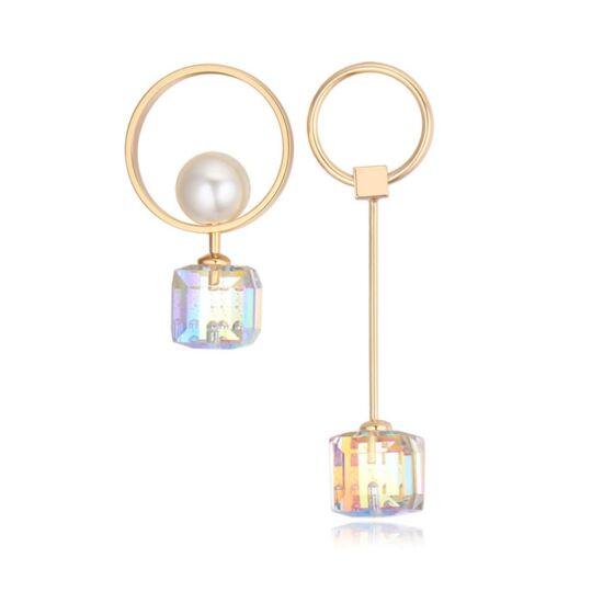 Geometria - Swarovski kristályos fülbevaló-kör -fehér-arany