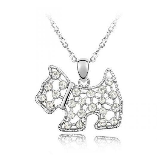 Csillogó kutyus - ezüst - Swarovski kristályos - Medál