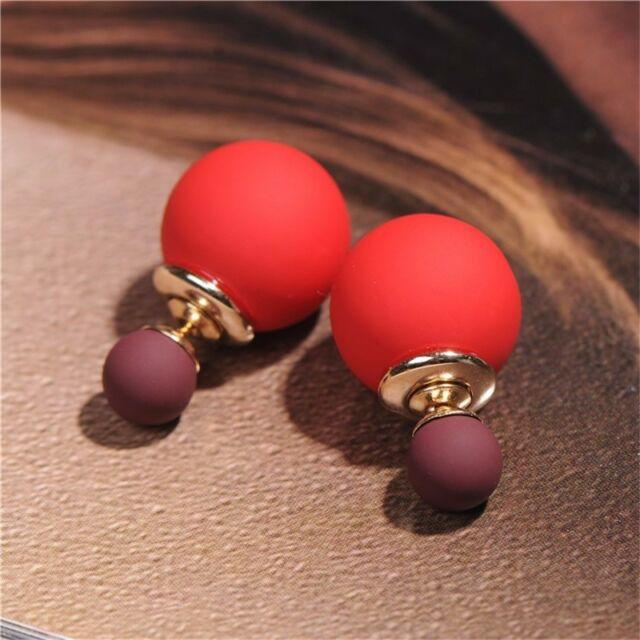 de1f238cd Dupla gyöngy fülbevaló - piros-bordó