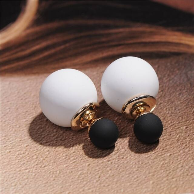 f1bcc3699 Dupla gyöngy fülbevaló - fehér-fekete