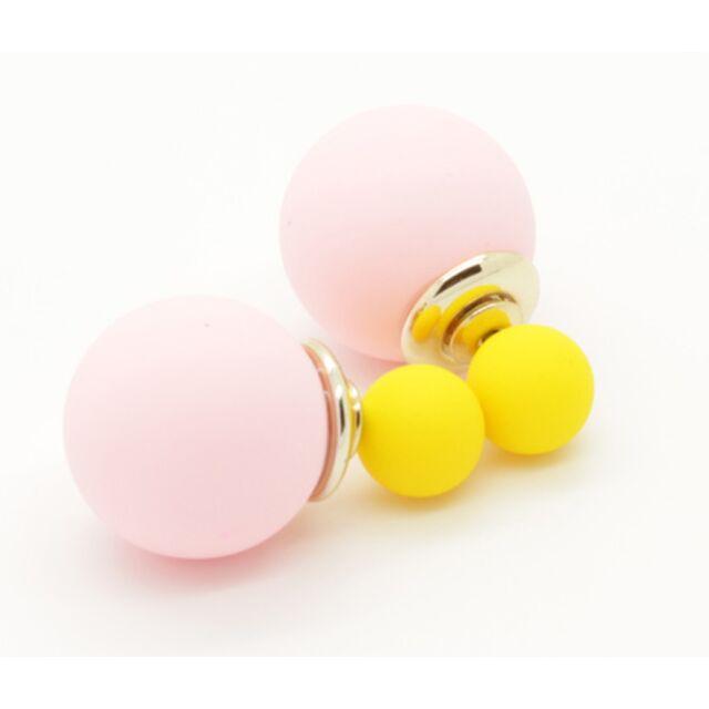 5ee67fb33 Dupla gyöngy fülbevaló - rózsaszín-sárga