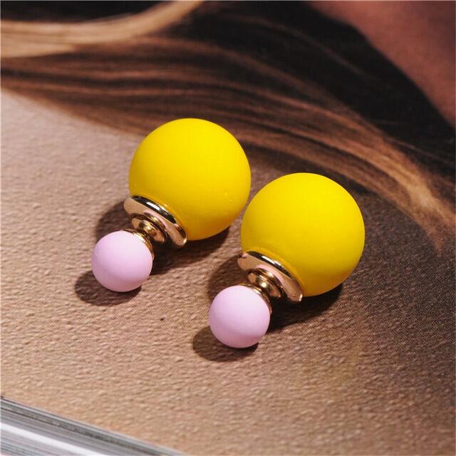 100dac036 Dupla gyöngy fülbevaló - sárga-rózsaszín