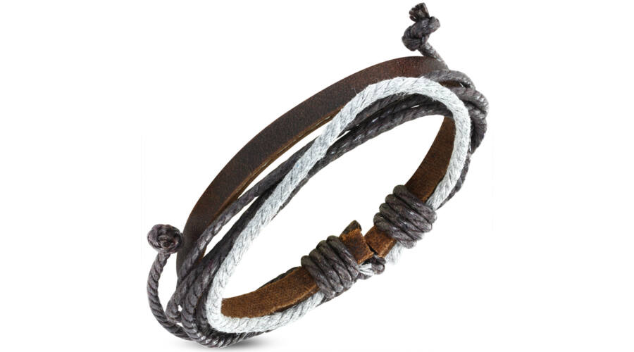 3c0a2e4812 Színes, kötélből és barna bőrszalagból készült karkötő 4. - Ragyogj.hu