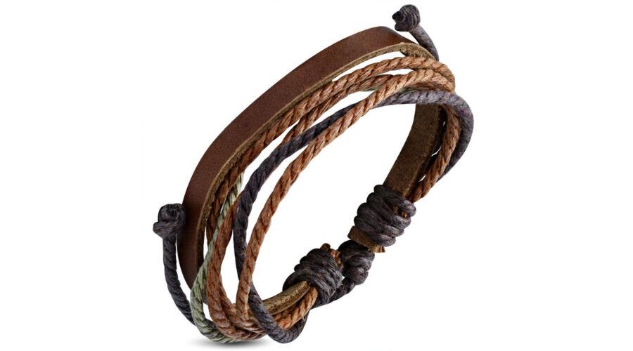 95b839b20c Színes, kötélből és barna bőrszalagból készült karkötő 9. - Ragyogj.hu